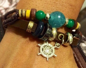 Boat captain charm bracelet, brown leather, free shipping