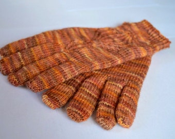 Orange multicolor wool gloves Ready to ship
