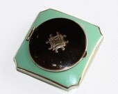 Vintage Art Deco green guilloche and black enamel powder compact with mirror