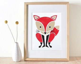 Red Fox Art Print- Screenprint- Nursery Art