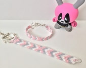 Mommy and baby pink and grey chevron XO patterned friendship bracelets.