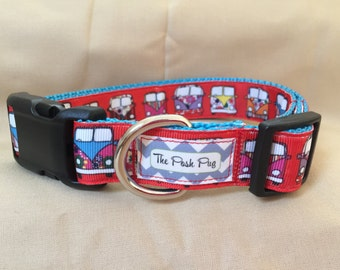 "Handmade VW Bus 1"" Adjustable Dog Collar"