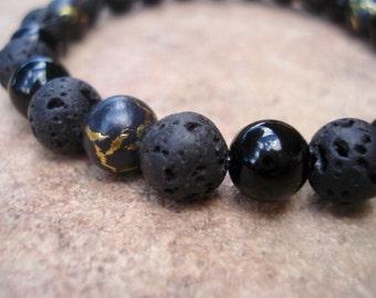 Lava Bracelet, Black Bracelet, Gold Bead Glass Bracelet, Modern Bracelet, Minimalist Bracelet, Stretch Bracelet, Men Jewelry, Women Bracelet