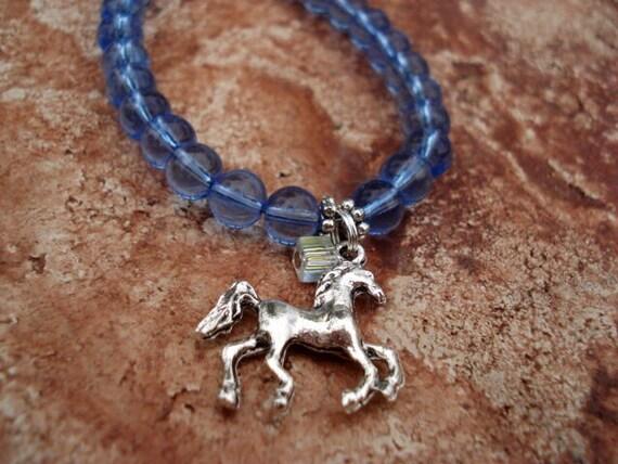 Horse Charm Bracelet, Charm Bracelet, Horse Jewelry, Western Jewelry, Blue Bracelet, Glass Bead Bracelet, Animal Bracelet, Teen Girl Gift