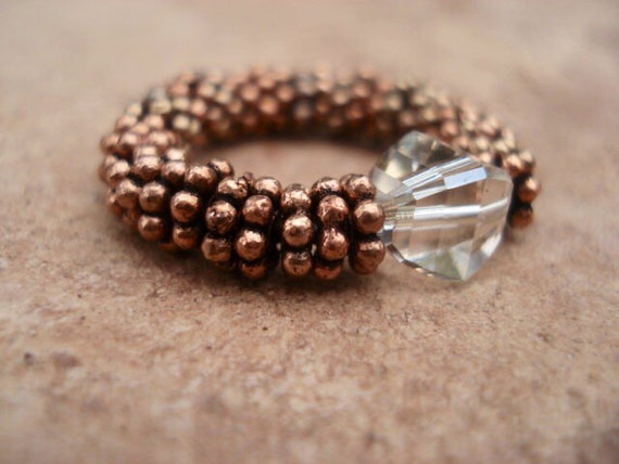 Women Copper Ring, Beaded Ring, Crystal Ring, Stretch Ring, Gemstone Ring, Copper Jewelry, Healing Ring, Crystal Jewelry, Gift For Her