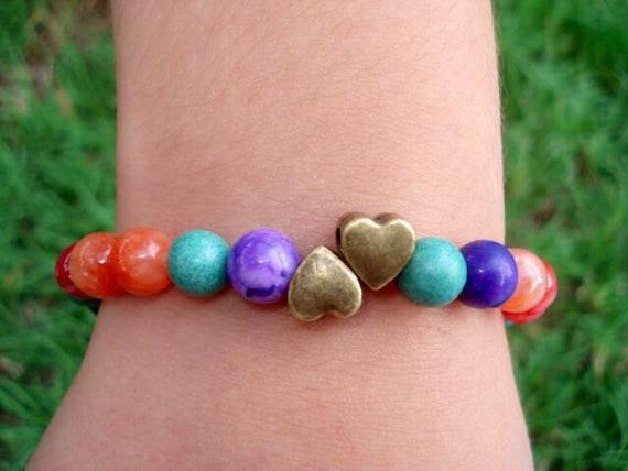 Heart Charm Bracelet, Rainbow Bracelet, Purple Crazy Lace Agate Bracelet, Turquoise  Bracelet, Beaded Bracelet, Gemstone Bracelet