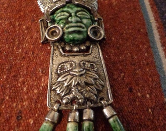 SALE Salvador Teran Silver and Pottery face necklace pendant Aztec