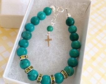 Baby baptism bracelet - baby girl gift- christening gift- baptism gift - toddler bracelet - cross jewelry- baby jewelry- newborn bracelet