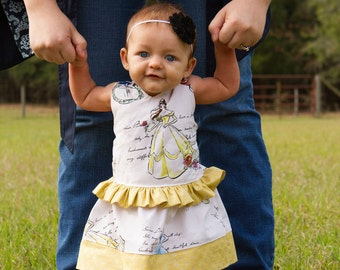 Fashionable disney princess fabric snow white belle cinderella party dress