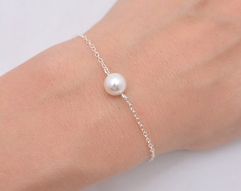 Single Pearl Bracelet, Sterling Silver Bracelet, One Pearl Bracelet, Bridesmaid Bracelet, Floating Pearl Bracelet, Bridal Bracelet 0165