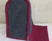 Cotton Quilted Fabric, Maroon with Gray Carpet, Tuck and Scratch Fitted Arm Cover, Round or Square