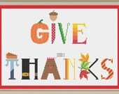 Give thanks sampler: cute Thanksgiving cross-stitch pattern