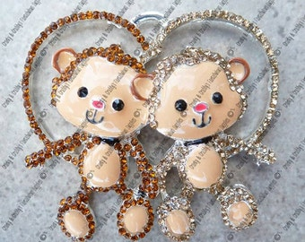Monkey Love  Rhinestone Pendant - 41mm x40mm - Chunky Necklace