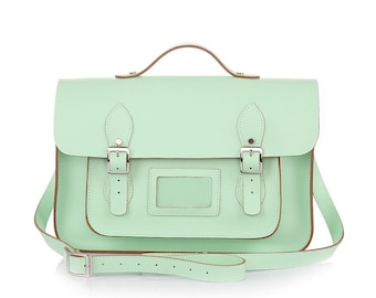 Large Wooster British Handmade Leather Satchel with Top Handle -  Pastel Green