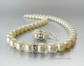 Ivory Pearl Bridesmaid Jewelry, Bridesmaids Gift, Swarovski Pearl Necklace Earring Set Custom