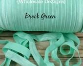 "Brook Green FOE - Fold Over Elastic - 5/8"" Foe Headbands - Hair Ties - Shiny Satin Elastic"