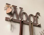 Dog leash hanger WOOF, handmade, shabby chic, gorgeous!