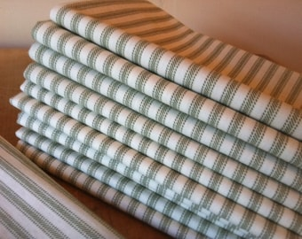 Green Ticking Cloth Napkins, 17 inch, by CHOW with ME