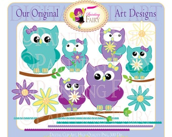 Clipart Buy 2 get 1 Free Cute Mother's Day special clip art teal and purple layout Owls Branches digital images personal cu use pf00014-5a
