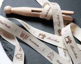 Printed Ribbon With Handmade Label Pattern Print Rustic 100 Percent Cotton 15mm - 1