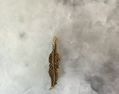 Small Feather Charm, Gold, Pendant, 2 Sided, Pewter