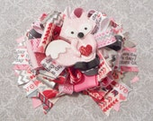 OTT Valentines Fox Inspired Clay Loopy Stacked Bow