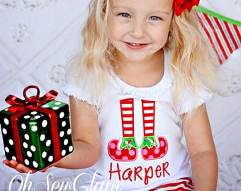 Santa's Elf Embroidered Shirt - Elf Feet - Embroidered Shirt - Girls Christmas Shirt -Christmas Elf Embroidered Shirt- Monogram Shirt