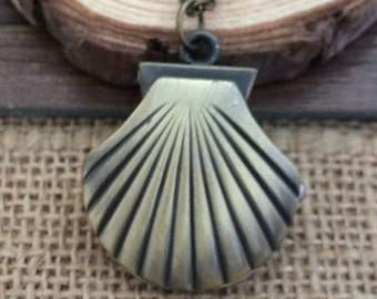 28mmx30mm Bronze color Sea shells pocket watch charms pendant  SZ022