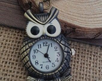 1pcs 27mmx41mm Bronze Owl pocket watch charms pendant PW039