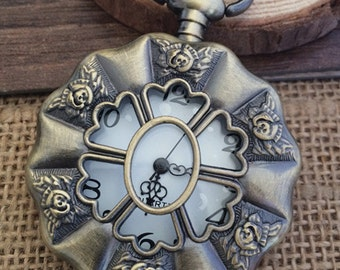 1pcs 45mmx45mm Bronze Flower  pocket watch charms pendant PW0621
