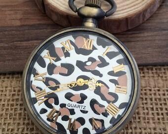1pcs 47mmx47mm Bronze colorLeopard grain  pocket watch charms pendant PW069