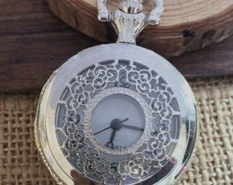1pcs silver color flower pocket watch charms pendant PW05 40mmx40mm