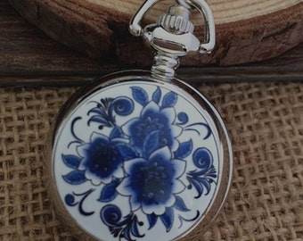 1pcs Flower pocket watch charms pendant    25mmx25mm