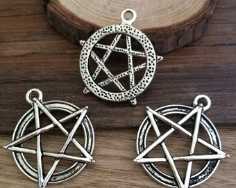 10pieces  28×31mm Star Charm --Antique silver pendant  Jewelry Findings