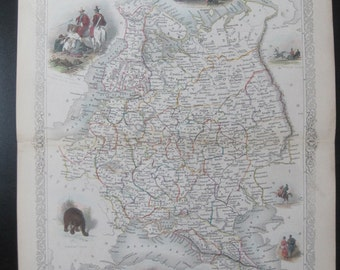 Russia in Europe , Original Antique Hand-colored Map C1850S. Hand-colored Vignettes.