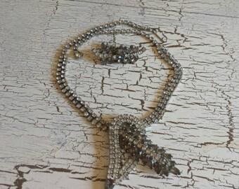 Vintage necklace/earrings set/clear rhinestones/costume jewelry
