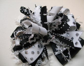 Deluxe Black White Over the Top Princess Hair Bow Unique Big Boutique Korker Glitz Pageant Toddler Girl