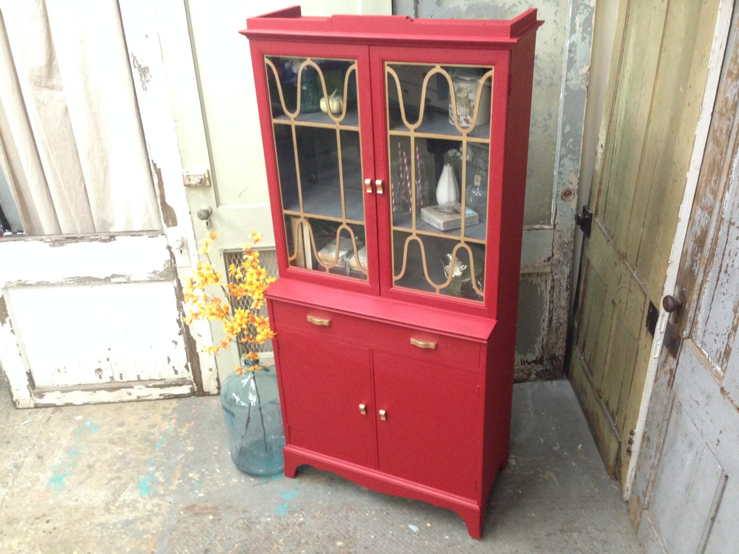 Small China Cabinet Antique China Hutch Red By Vintagehipdecor