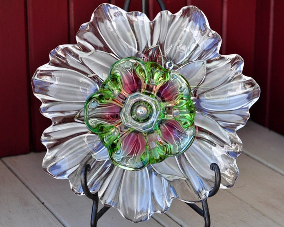 Repurposed Glass Flower Sun Catcher Glass Garden Art