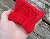 Bright Red knitted coin purse gift card holder wallet with a leaf pattern and white button with black and red heart flower design Birthdays