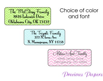 60 Chevron address labels Personalized PRINTED  Chevron stickers  Chevron return address labels