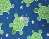 "Fish Print Polar Fleece Fabric - Blue Star Turtles - Sold By The Yard 60"" Width (624)"