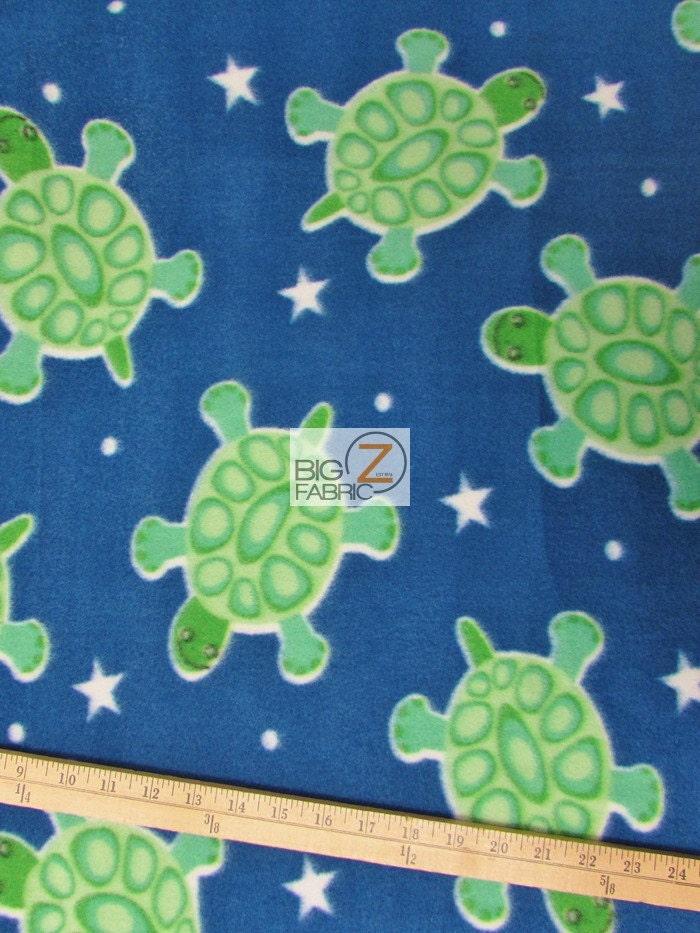 Fish print polar fleece fabric blue star turtles sold by for Fleece fabric