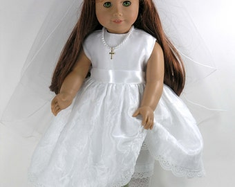 Handmade Doll Clothes for American Girl - First Communion Dress, Cross Necklace, Veil, Pantalettes - Organza Satin - WITH Shoes, Socks