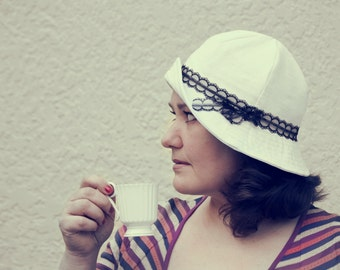 Made to order white linen summer hat, woman cloche hat retro inspired with black lace ribbon