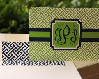 Boxed set of 12 Navy and Green Monogram Note Cards and Lined Envelopes