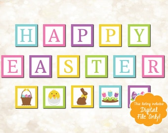 Printable Happy Easter Banner - Easter Decor - Spring Home Decor - Easter Sign - Do It Yourself Easter Decorations - Easter Decorating Ideas