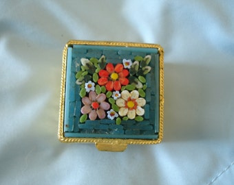 Vintage Square Italian Micro Mosaic Pill Box/Trinket Box/Ring Box