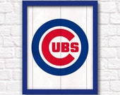 CHICAGO CUBS rustic wood sign - Cubs fan wall hanging Boys room Man cave decor - Fathers Day gift for Dad