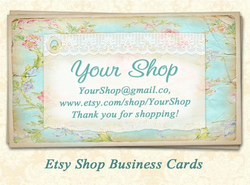 Business cards for Etsy shops Printable digital cards Vintage